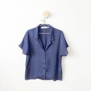 Satin Short Sleeve Button-Up Top